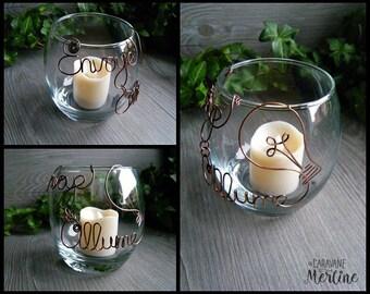 MAKE-TO-ORDER Copper citation Candle-Holder, glass candleholder, Heart, Unique.