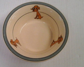 "Roseville Juvenile ""Skinny Puppy"" oatmeal bowl RARE!"