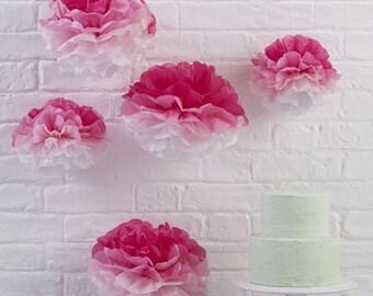 Pink Ombre Tissue Paper Pom Poms, Pink Paper Pom Poms, Pink Paper Decorations, Tissue Paper Pom Poms, Pom Poms Paper Pink
