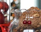 Deep Red Dangle Earrings
