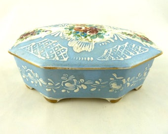 Vintage French Trinket Jewelry Box Blue Raised Enamel Hand Painted