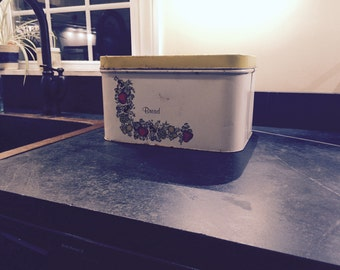 Vintage White Tin Bread Box