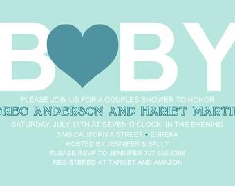Baby Loves Shower Invitation 5x7 Custom Digital Card