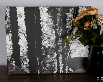 Trees Reflected in Water, Original Photo, Canvas, 20x16,
