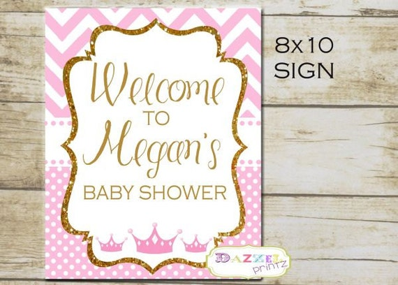 little princess pink and gold baby shower welcome sign baby