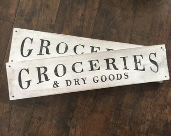 Rustic Wood Farmhouse Groceries Sign