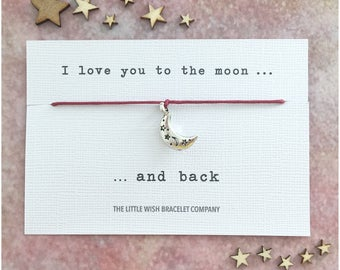 I LOVE YOU To The Moon And Back Wish Bracelet, Add a Name & Custom options available