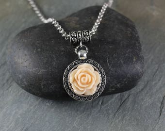 Rustic Romantic ~ Antique  Pale Peach resin flower pendant necklace