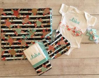 Baby Girl  Bodysuit, Blanket, Bib, Burp Cloth and Headband Set, Create your own