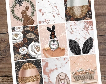 EASTER Dark Skin Day Square Stickers for your Planner