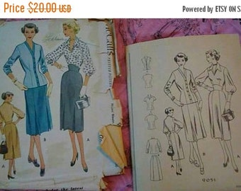 1950s McCalls Sewing Pattern #9051 Wasp Waist Skirt Balloon Sleeve and Cardigan Pattern 32 Bust