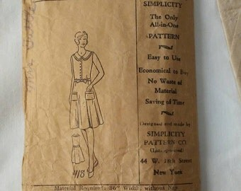 1920s 1930s Sporting Outfit Early Simplicity Sewing Pattern 418 Size 12 Sportswear Active Wear