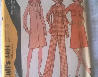 Retro 1972 McCall's Pattern no.3404 Misses Dress or Tunic w/Pants size 18- Free US Shipping