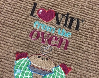 CLEARANCE Handmade Brown Lovin From The Oven Embroirdered Kitchen Towel