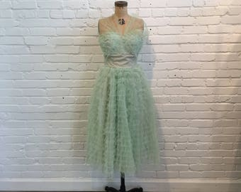 1950s Sea Foam Green Tulle Cupcake Dress // 50s Mint Green Prom Formal Dress // 1950s Vintage Green Tulle Gown