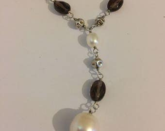 Vintage Sterling Silver Crystal And Pearl Bridal Necklace