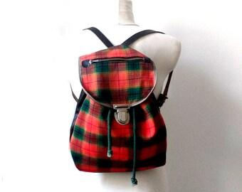 60's Vintage backpack / Canvas rucksack / kids backpack