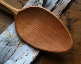 """Wooden spoon, cooking spoon, serving spoon, 12"""" long, hand carved, no machines"""