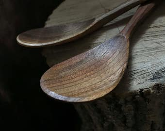 "Eating spoons, soup spoons, tablespoons, wooden spoons, serving spoons, 7"" long, hand carved"