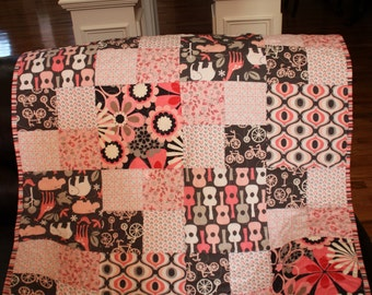 Baby Quilt - Pink and Gray