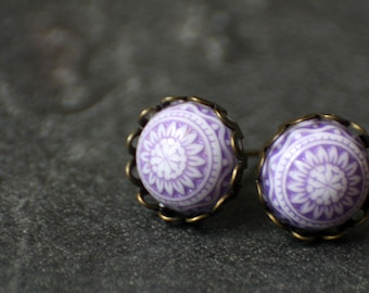 Lilac mosaic earrings, 10 mm, bronze