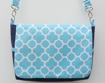 Navy Blue and Turquoise Messenger Bag, Cross body Bag, Crossbody bag, Every Day Bag, Shoulder Bag, Canvas Messenger Bag, Nappy Bag