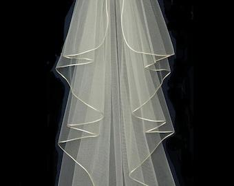 Waterfall Cascade Style Cord Edge Knee Length Wedding Veil