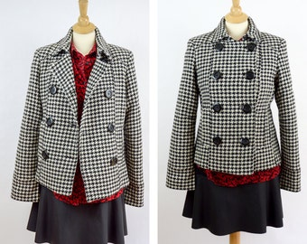 Vintage MUDD Juniors Jacket,  Black White Houndstooth Winter Coat, Size Medium, Double Breasted Blazer, Blackand White Coat, Fitted Jacket
