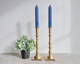"""11"""" Pair of Vintage Brass Candlesticks Made in Hong Kong Cottage Country Boho Eclectic Regency Candle Holders"""