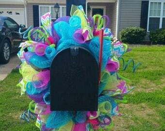 Summer Deco Mesh Mailbox Wreath / Mailbox Swag / Mailbox Topper