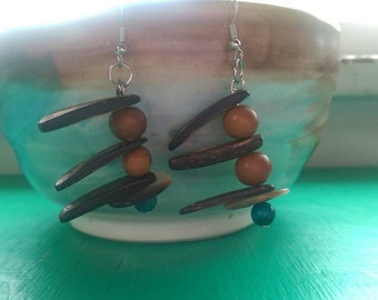 Dangle earrings made from repurposed materials