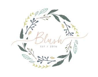 wreath business Logo design, Customisable Pre-made OOAK logo.