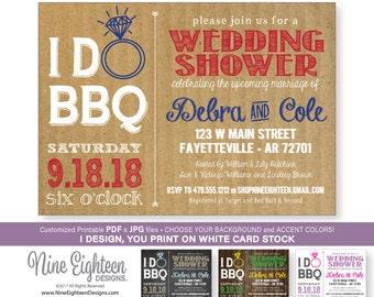 I Do BBQ Wedding Shower INVITATION. Customized Printable pdf & jpg files.