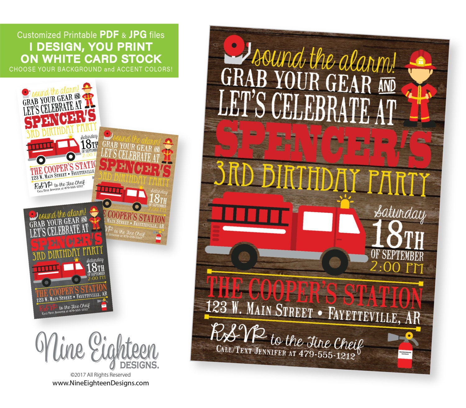 Kids Birthday Party INVITATION with Fireman fire truck – Fireman Party Invitations