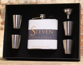 Groomsmen Flasks, Personalized Gifts, Set of 2