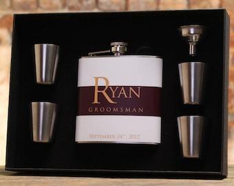 Burgundy Wedding, Groomsman Gift, Personalized Flask, Burgundy, Gold