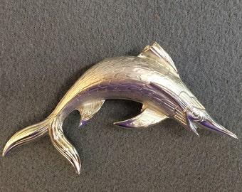 Swordfish Silvertone Brooch by Giovanni.  Free shipping