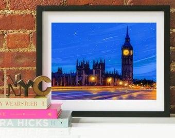 London Art, London Print, London Art Print, London Wall Art, London Skyline, London Decor, Big Ben Clock, London Travel Art, London Poster