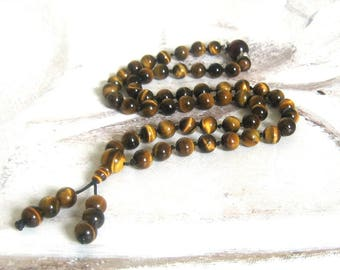 Mala beads 54 Tiger eye bead mala Meditation/Prayer beads Carry mala Tiger eye gemstone beads Brown necklace Insight mala Father gift