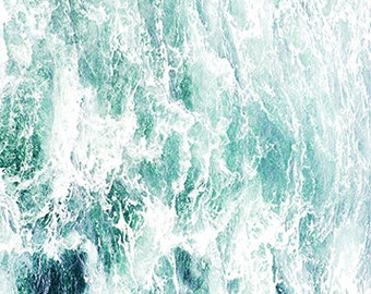Sea Water Photography - Green and White Print -  Waves - Seascape Artwork - Teal