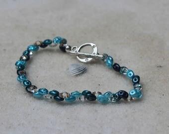 Caribbean Blue Beaded Bracelet