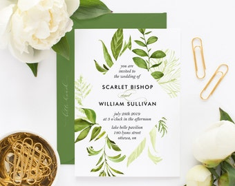 Printable Wedding Invitation - Watercolor Wild Green Foliage Wedding Invitation -  Spring Wedding Invitation - Botanical Wedding Invitation
