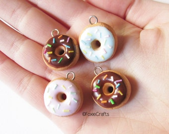Glazed Donut with Sprinkles - Cute Kawaii Miniature Food Polymer Clay Charm