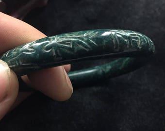 Jade Bangle Bracelet Full Round Carved Design 20th C. Lg. 62 mm Chinese Deep Black Green Jadeite Bracelet Stunning Jade Bangle