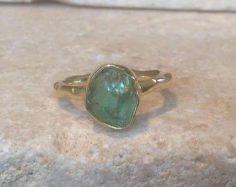 Raw Stone Ring, US 5.75, Raw Apatite Ring, Apatite Gold Ring, Rough Natural Gemstone, Rough Apatite Ring, Natural Apatite Gemstone Ring