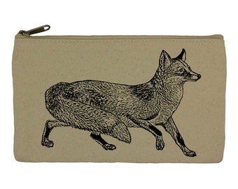 Pencil case/ stationary/fox/ pencil pouch/ canvas bag/ pencil holder/ make up bag/ school supplies