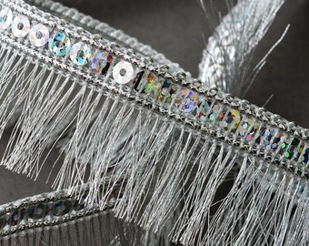 "1-1/4"" Hologram Sequin  Metallic Fringe Trim by YD, EXP-IR6965"