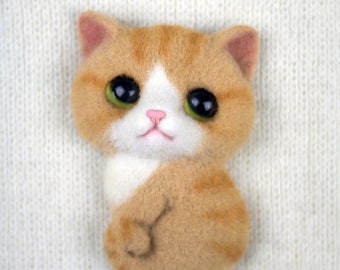 Brooch felted the Kitten (a brooch made of wool)