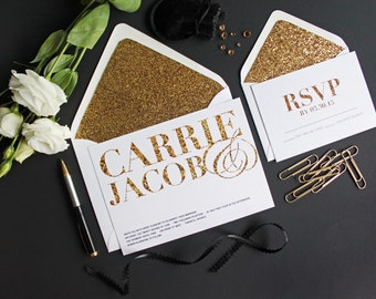 Modern Glitter Wedding Invitation.  Modern Wedding invite. Contemporary Invite. Typography.  Glitter and Gold Wedding Invitations. Minimal.