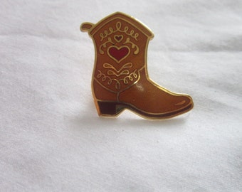 Vintage Gold Tone & Enameled Cowboy Boot with A Red Heart Pinback